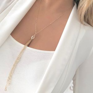 Express gold dainty delicate tassel necklace